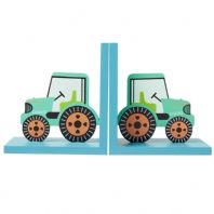 Pair Of Wooden Green Tractor Bookends